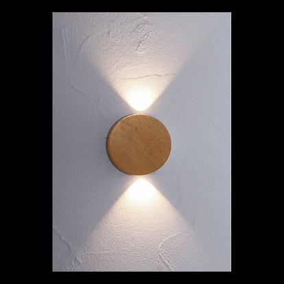 2 flammige led wandlampe mit blattgold belegt. Black Bedroom Furniture Sets. Home Design Ideas