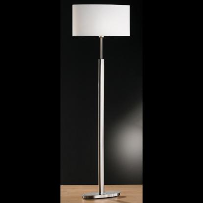 stehlampe in mattnickel mit ovalem fuss und schirm weiss. Black Bedroom Furniture Sets. Home Design Ideas