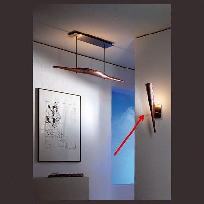 wandlampe fackelf rmig in patiniertem kupfer. Black Bedroom Furniture Sets. Home Design Ideas