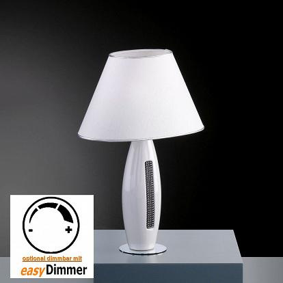 moderne tischlampe keramik weiss mit strassdekor. Black Bedroom Furniture Sets. Home Design Ideas