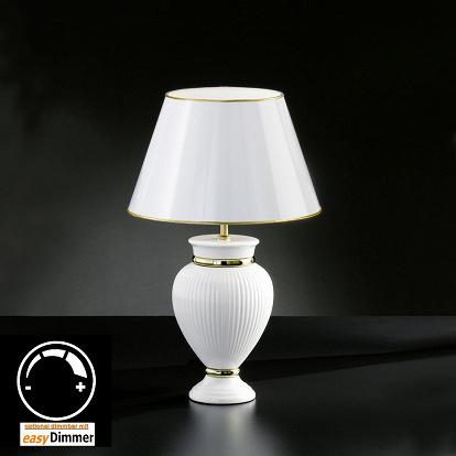 tischlampe keramik weiss mit lackiertem schirm size 1. Black Bedroom Furniture Sets. Home Design Ideas