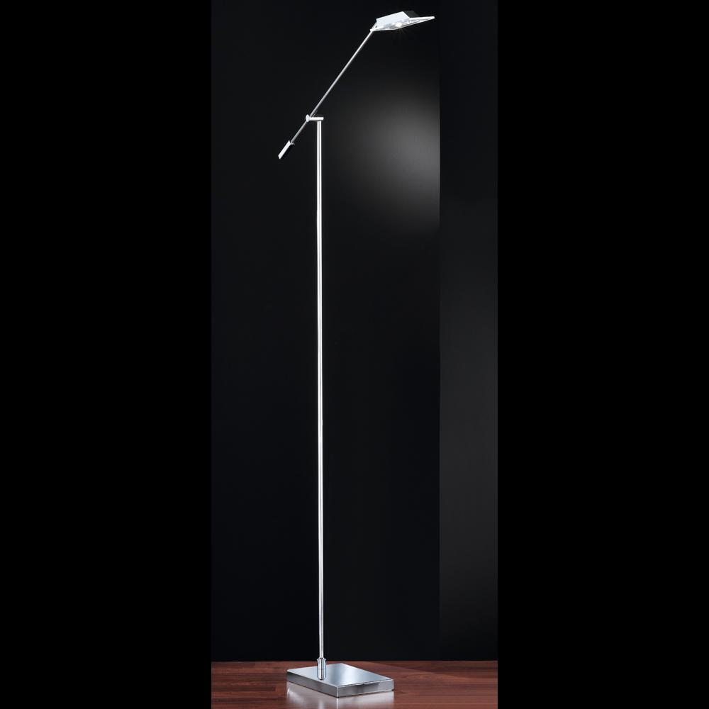 schlanke led stehlampe in chrom glas viereckig. Black Bedroom Furniture Sets. Home Design Ideas