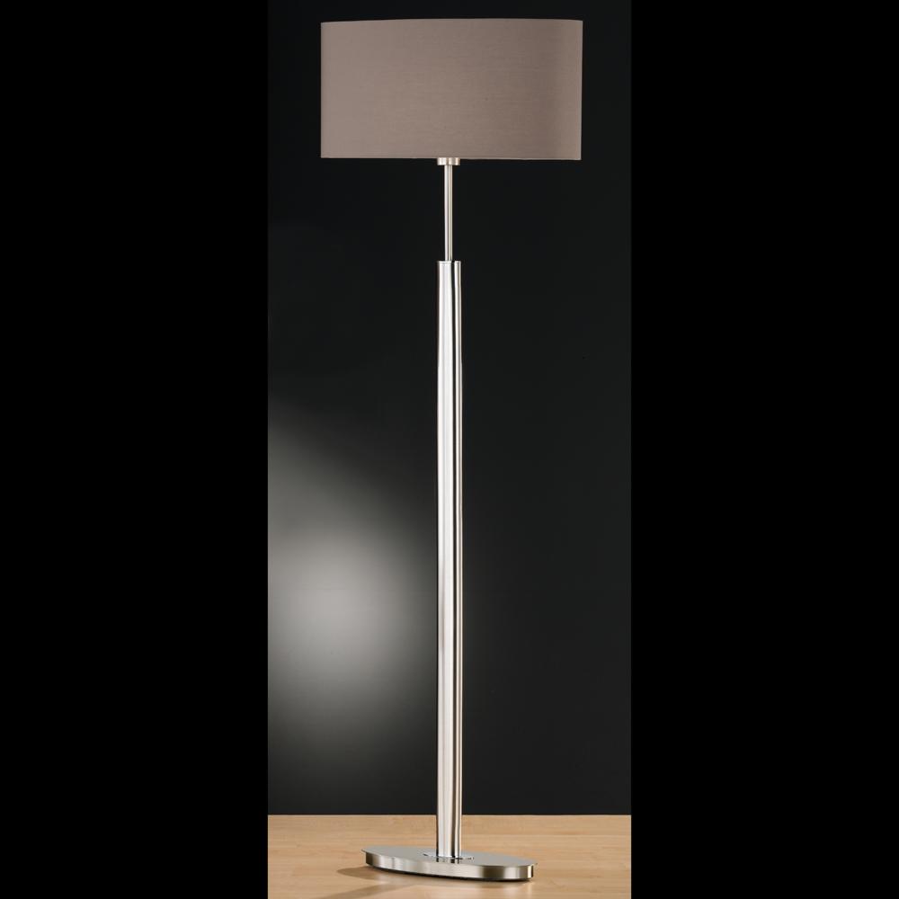 stehlampe in mattnickel mit ovalem fuss und schirm braun. Black Bedroom Furniture Sets. Home Design Ideas