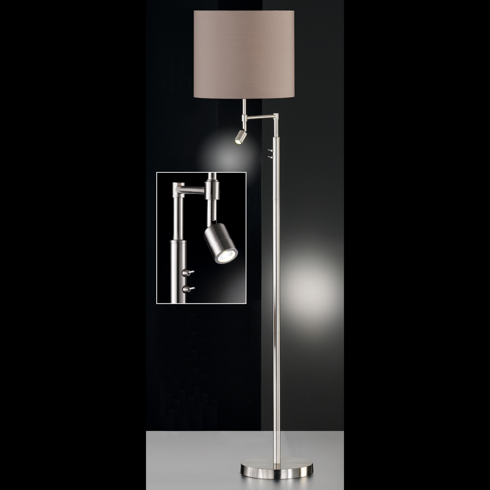 variable stehlampe mit led spot schirm braun. Black Bedroom Furniture Sets. Home Design Ideas