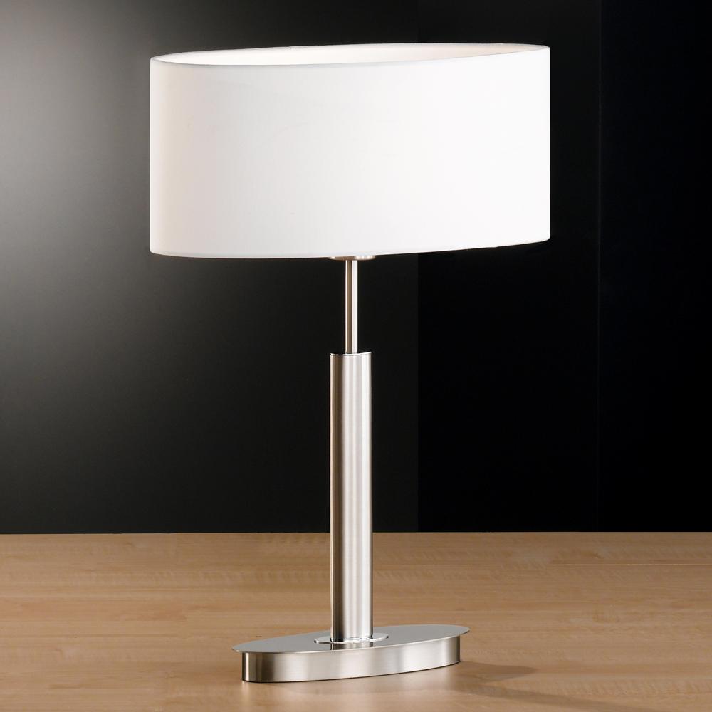 tischlampe in mattnickel mit ovalem fuss und schirm weiss. Black Bedroom Furniture Sets. Home Design Ideas