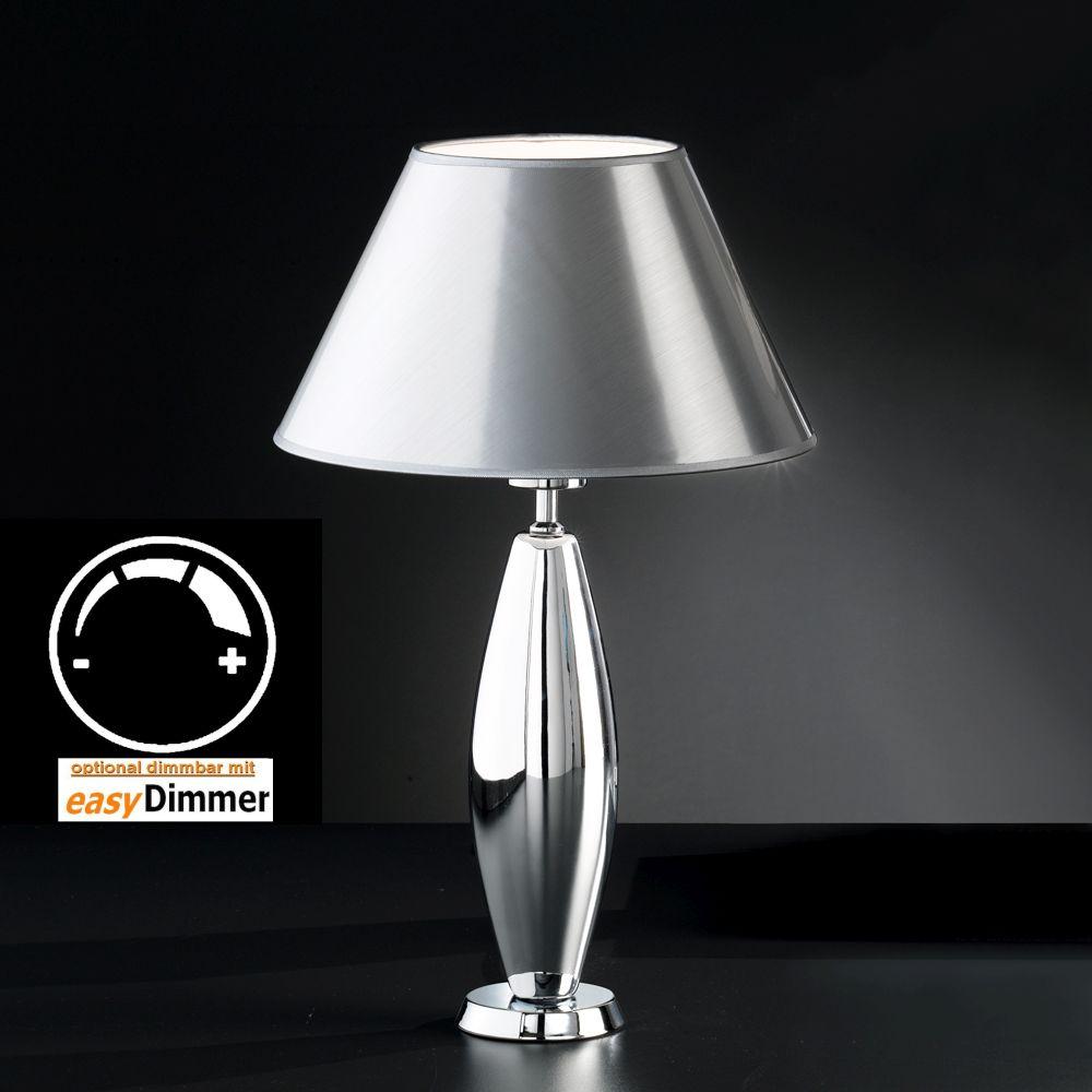 grazile edle tischlampe in keramik mit chrom. Black Bedroom Furniture Sets. Home Design Ideas