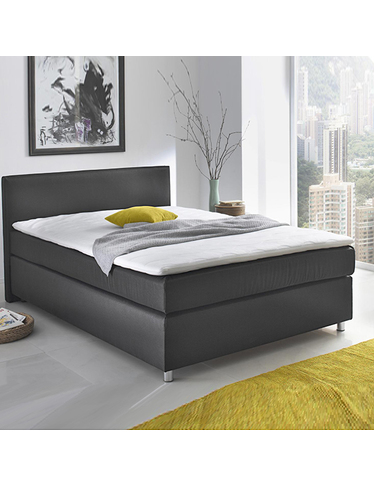 boxspringbett new york 140 x 200 schwarz. Black Bedroom Furniture Sets. Home Design Ideas