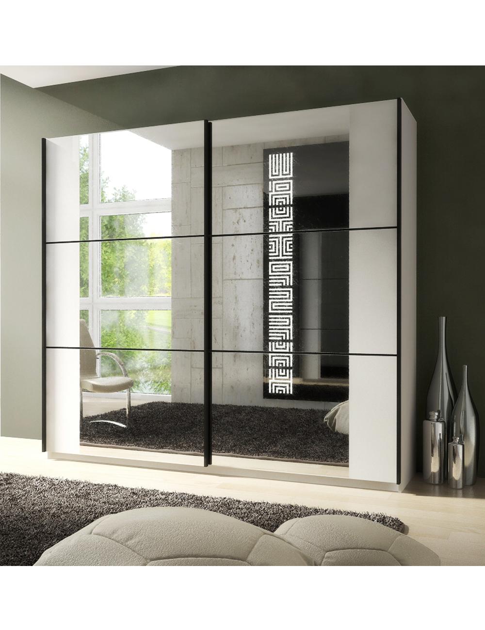 Armoire zen avec 2 portes miroir coulissantes for Ajax gel salle de bain