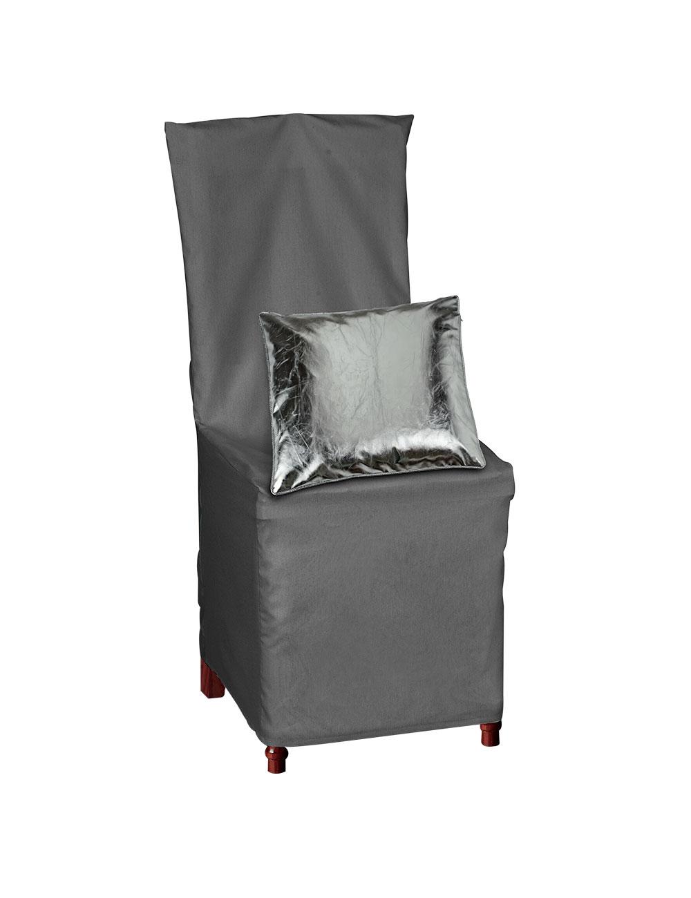 Housse de chaise avec noeud d co gris for Housse de chaise ecru