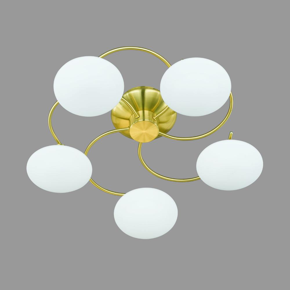 deckenleuchte in messing matt mit weissem glas von trio. Black Bedroom Furniture Sets. Home Design Ideas