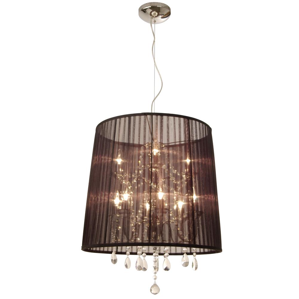 grosse, runde Organza-Hänge-Lampe mit Kristallen
