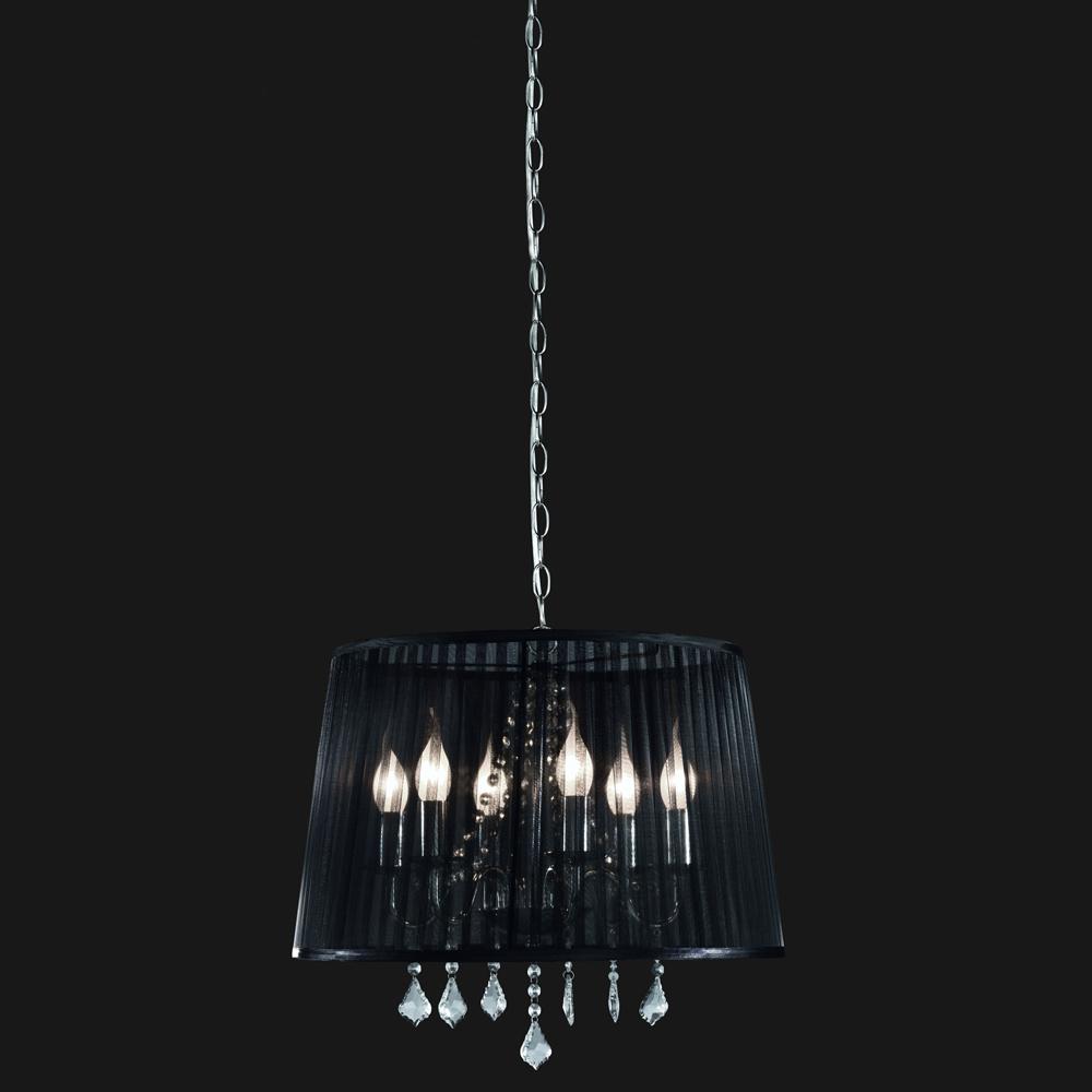 sch ne h ngelampe im kronleuchter look mit stoffschirm in schwarz. Black Bedroom Furniture Sets. Home Design Ideas