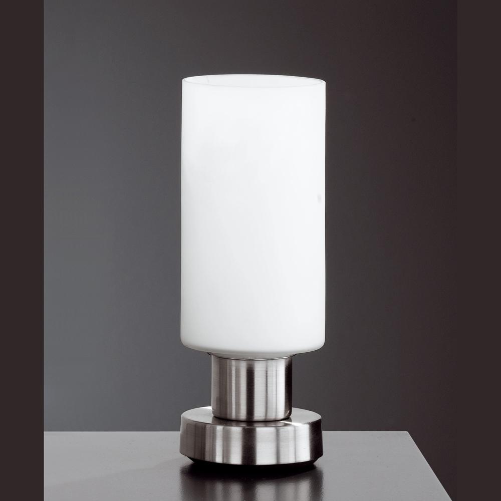 mattnickel tischlampe mit weissem glas. Black Bedroom Furniture Sets. Home Design Ideas
