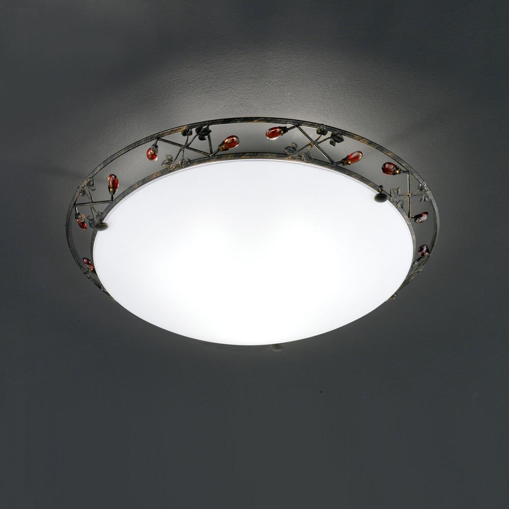 Runde deckenlampe mit glasdekor for Runde deckenlampe