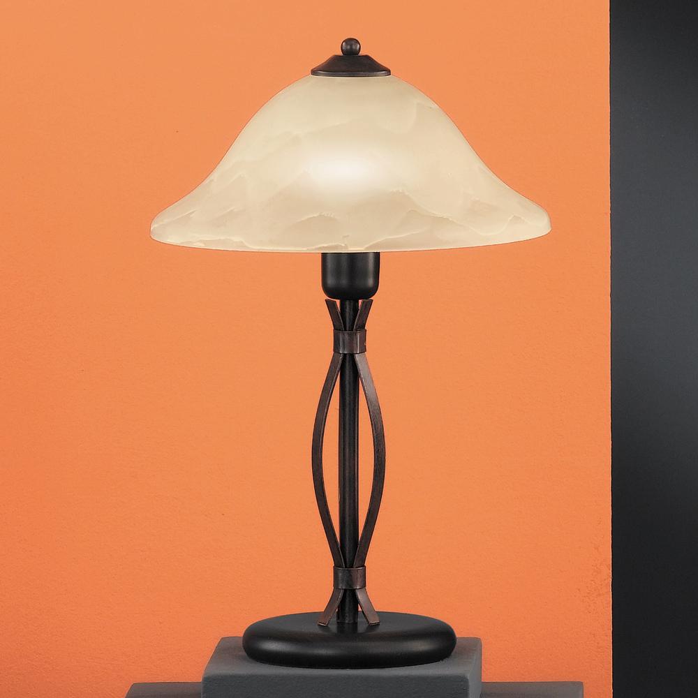 tischlampe mit champagnerfarbigem glas. Black Bedroom Furniture Sets. Home Design Ideas