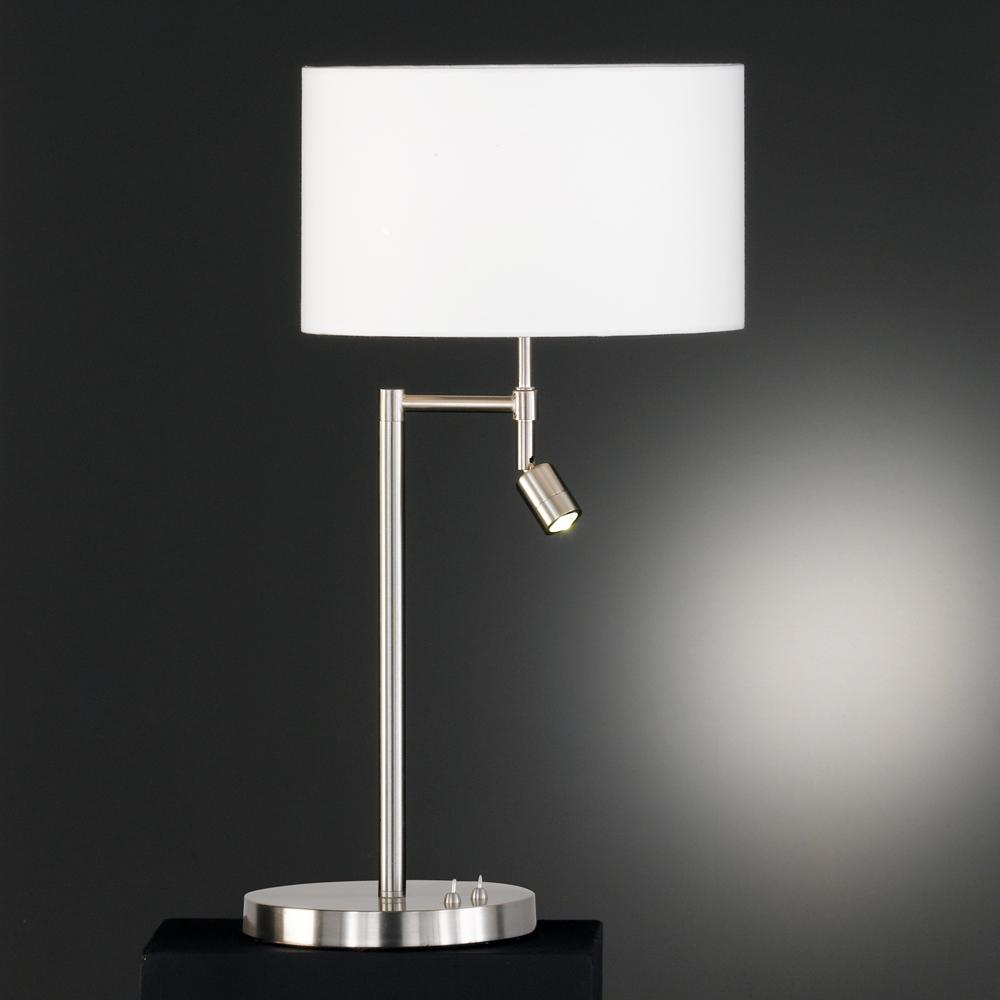 variable tischlampe mit led spot schirm weiss. Black Bedroom Furniture Sets. Home Design Ideas