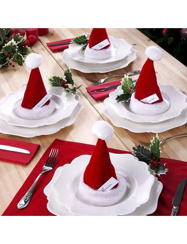 tischdekoration mit bef llbaren weihnachtsm tzen. Black Bedroom Furniture Sets. Home Design Ideas