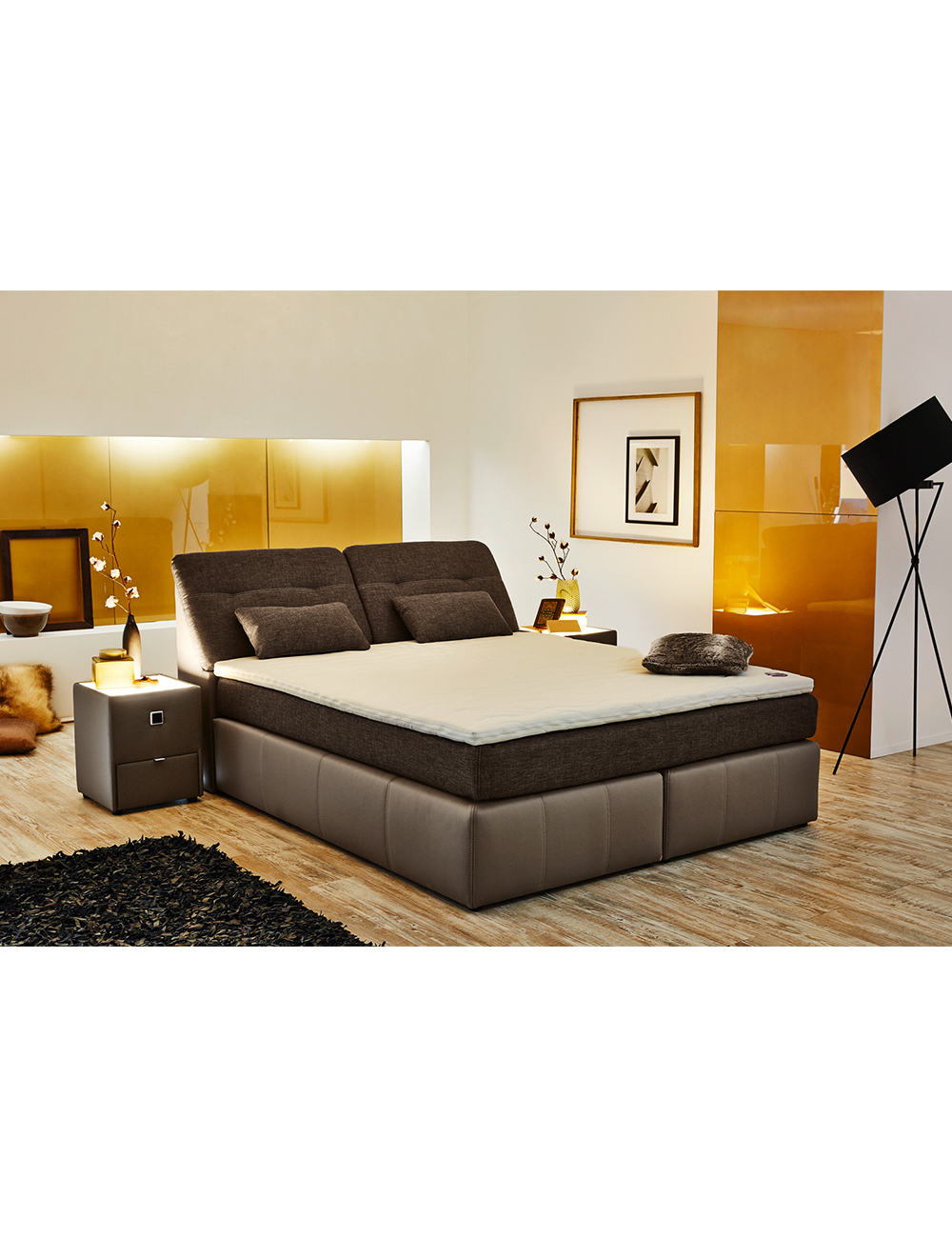 boxspring bett palace 180 x 200 cm braun. Black Bedroom Furniture Sets. Home Design Ideas