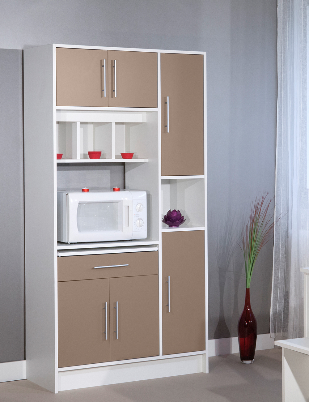 haut meuble micro ondes lucky taupe blanc. Black Bedroom Furniture Sets. Home Design Ideas
