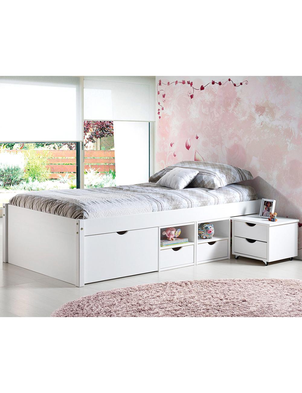funktionsbett weiss lasiert 90 x 200 cm. Black Bedroom Furniture Sets. Home Design Ideas