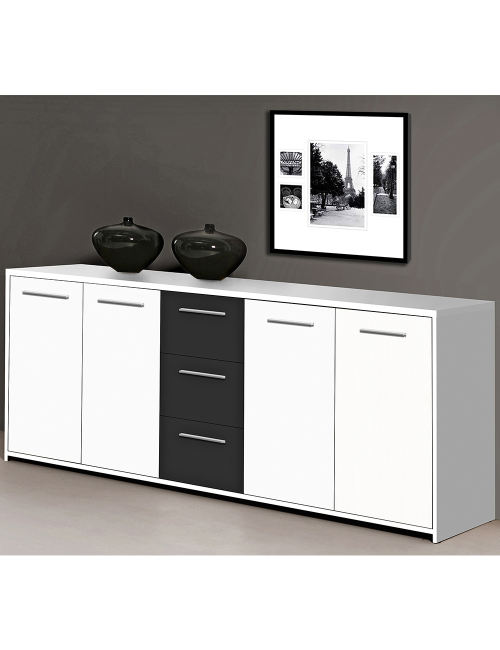 sideboard lounge weiss schwarz. Black Bedroom Furniture Sets. Home Design Ideas