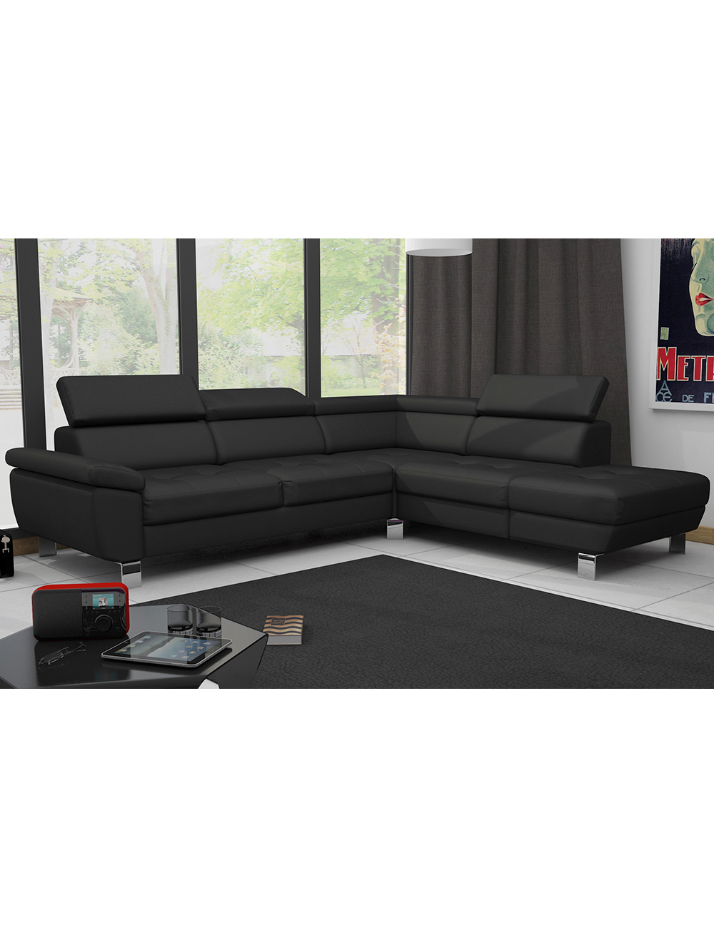 ecksofa kate schwarz. Black Bedroom Furniture Sets. Home Design Ideas