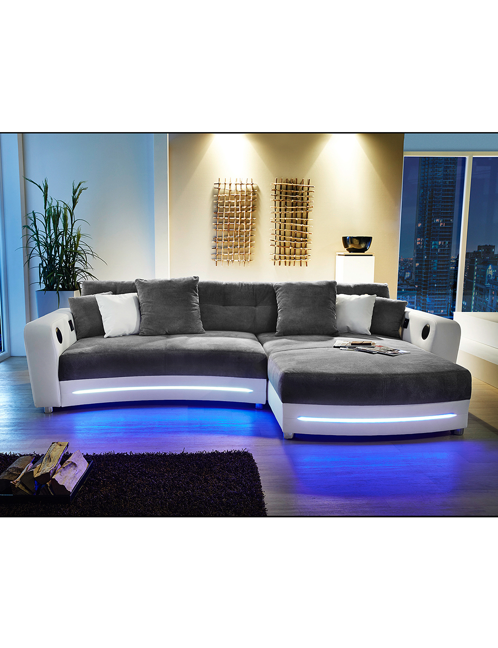 ecksofa party weiss grau mit beleuchtungsleiste und. Black Bedroom Furniture Sets. Home Design Ideas