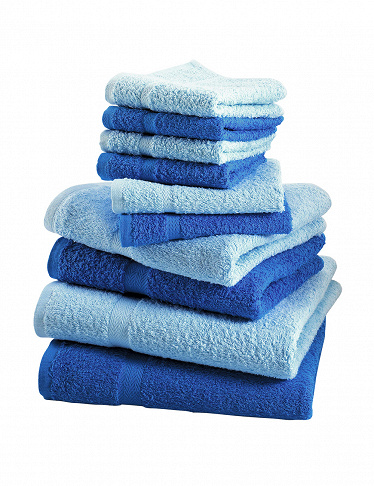 10-teiliges Frottee-Set, superflauschig, royal/blau