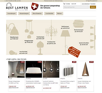 www.best-lampen.ch - Online-Shop powered by orbiz.