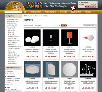 www.design-lampen.ch - Online-Shop powered by orbiz.