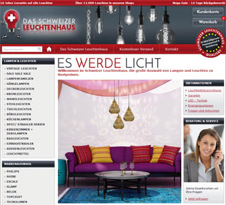 www.lampen-leuchtenhaus.ch - Online-Shop powered by orbiz.